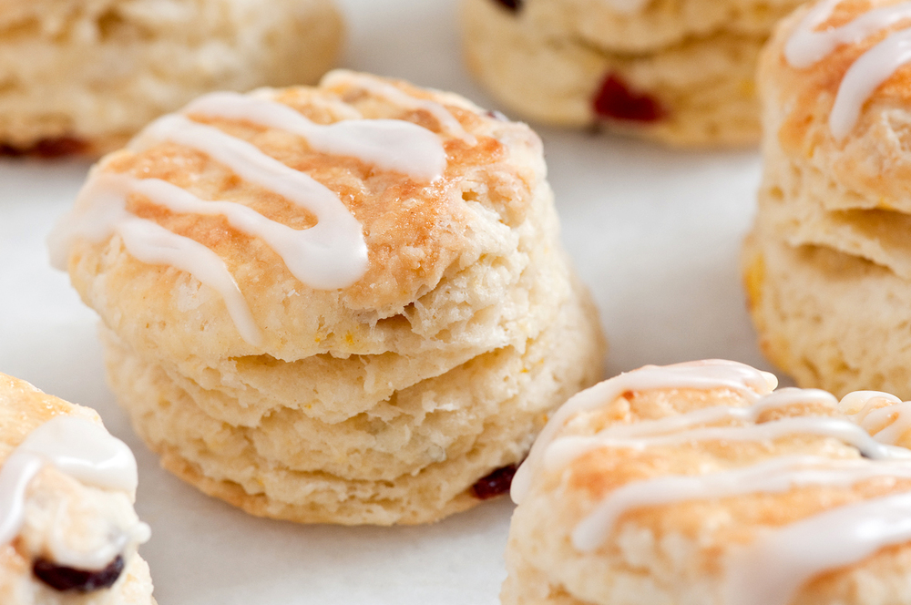 orange cranberry scones with Grand Marnier glaze