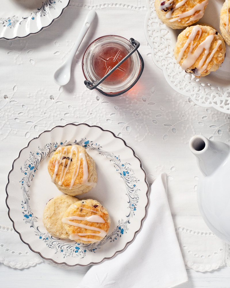 Frozen butter scones on vintage linens