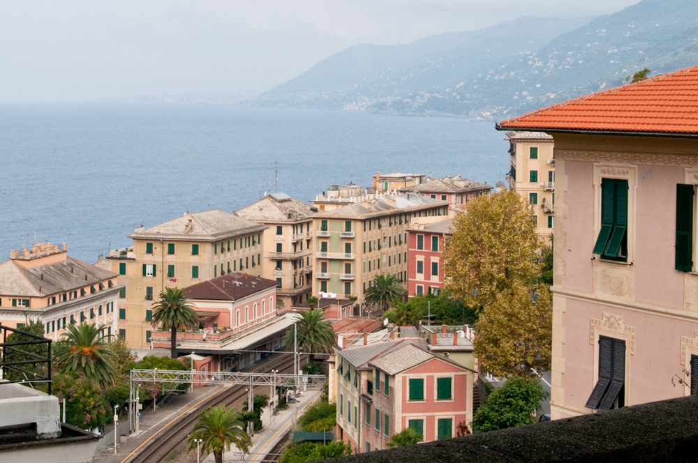 View of the Camogli train station from our apartment.