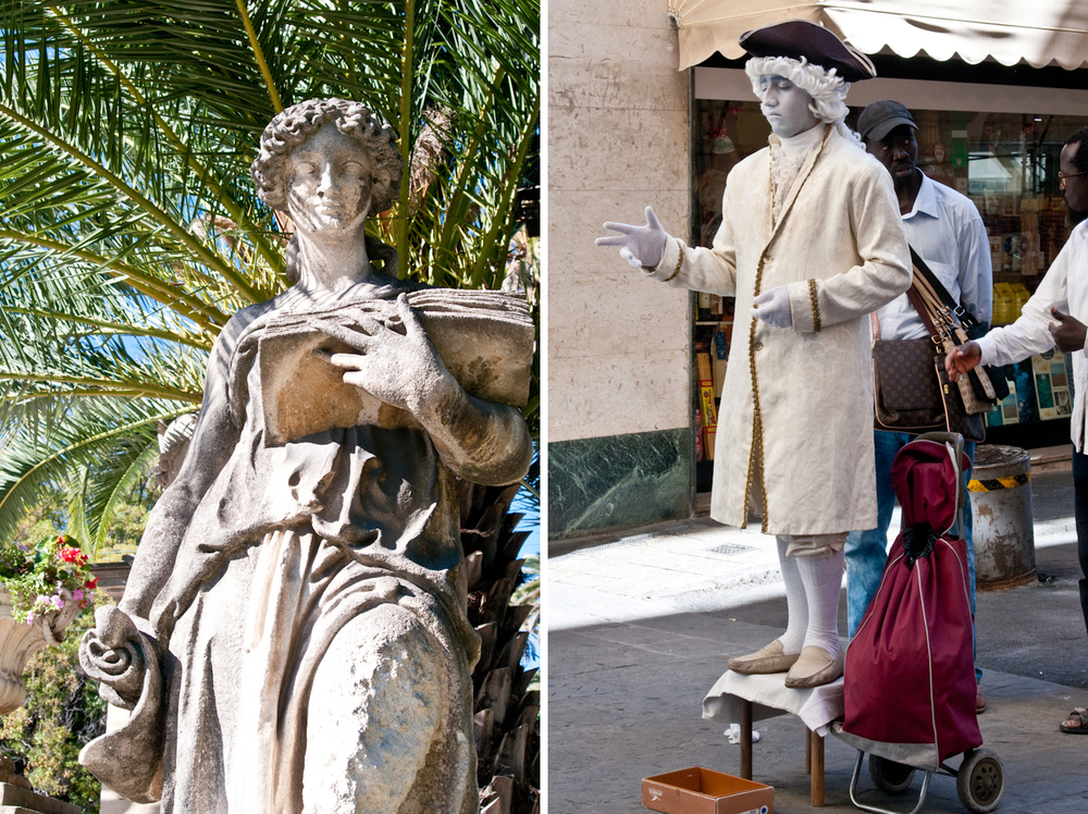 Statues of Sanremo, both living and stone.