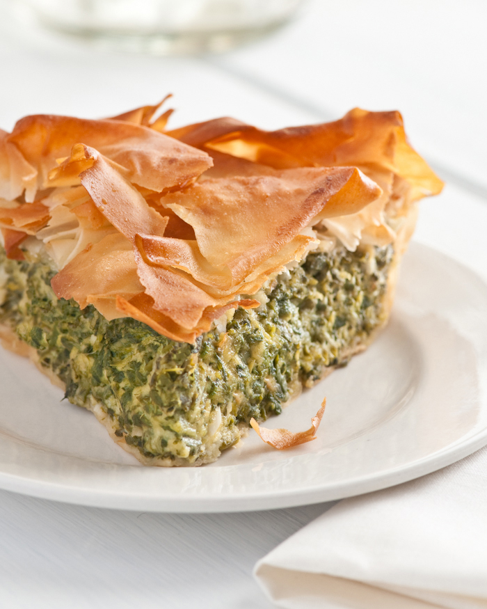 slice of spinach chard filo tart
