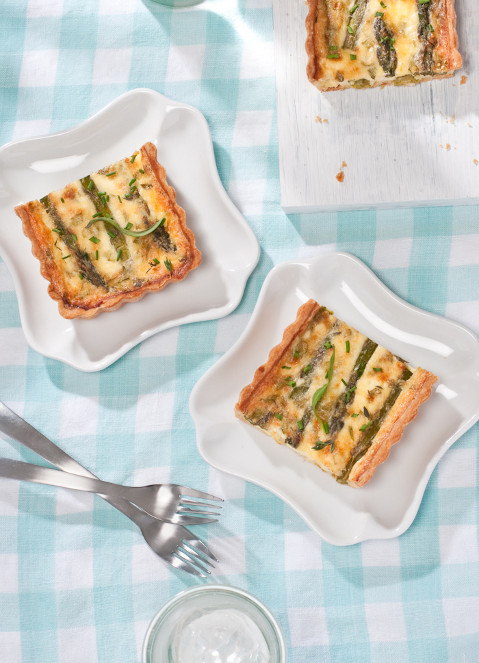 slices of asparagus goat cheese tart