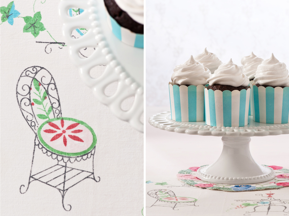 vintage tablecloth and old fashioned cupcakes