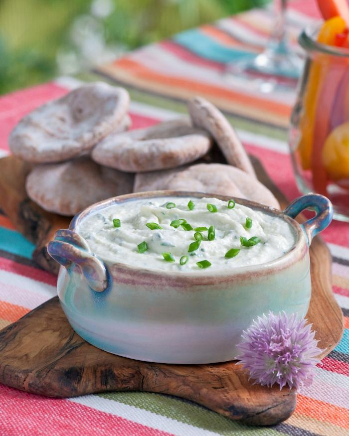 rasted garlic whipped feta dip with pita