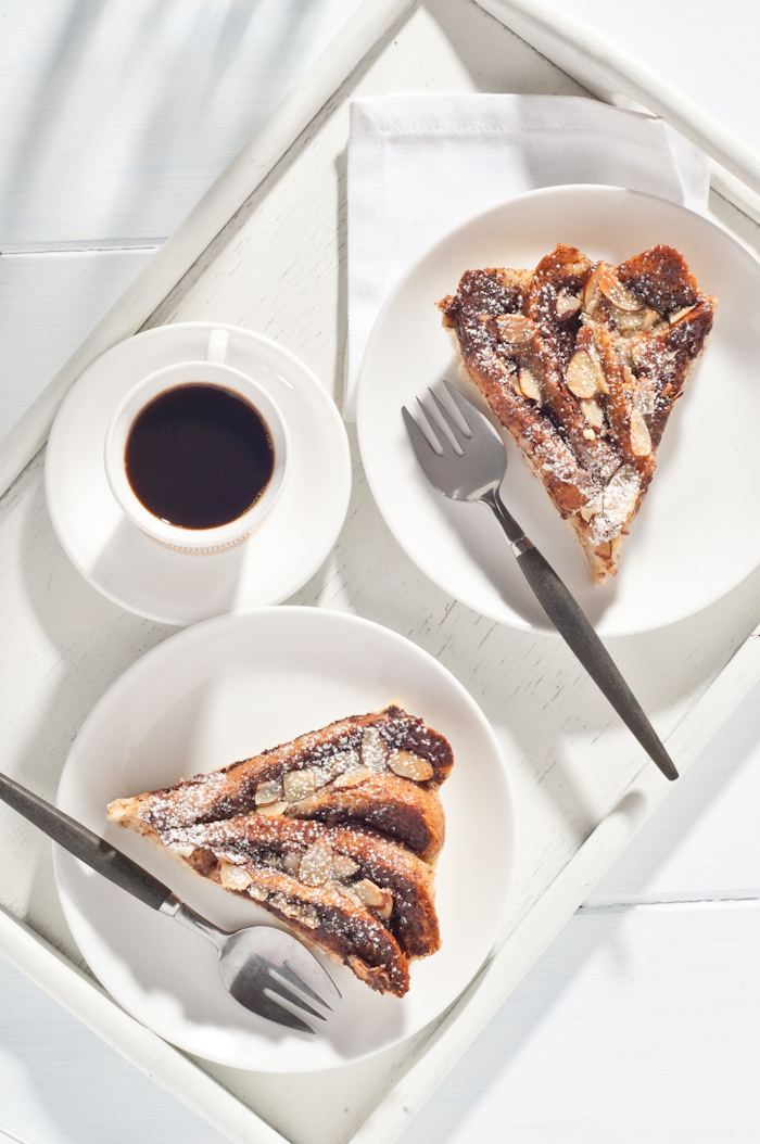 Nutella Amaretto bread pudding