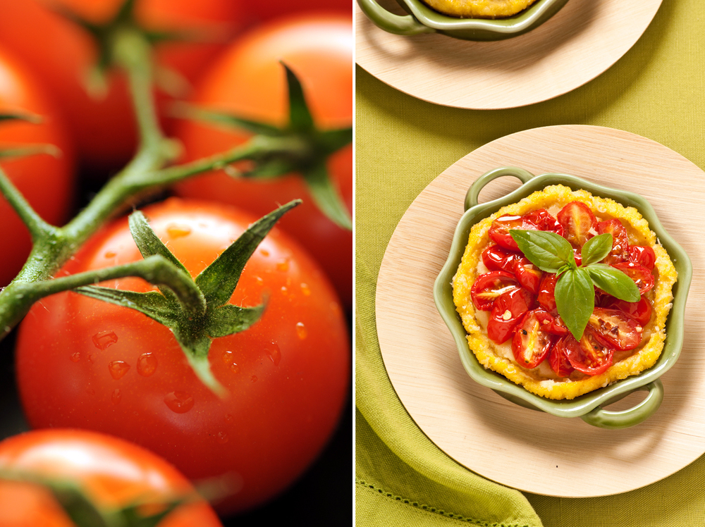 honey roasted cherry tomato tarts in a polenta crust