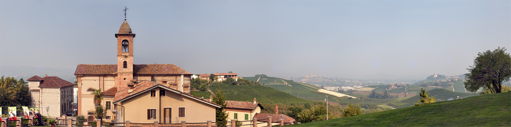 A view from the Castello - the town of Grinzane Cavour and surrounding vineyards of the Langhe in Piedmonte.