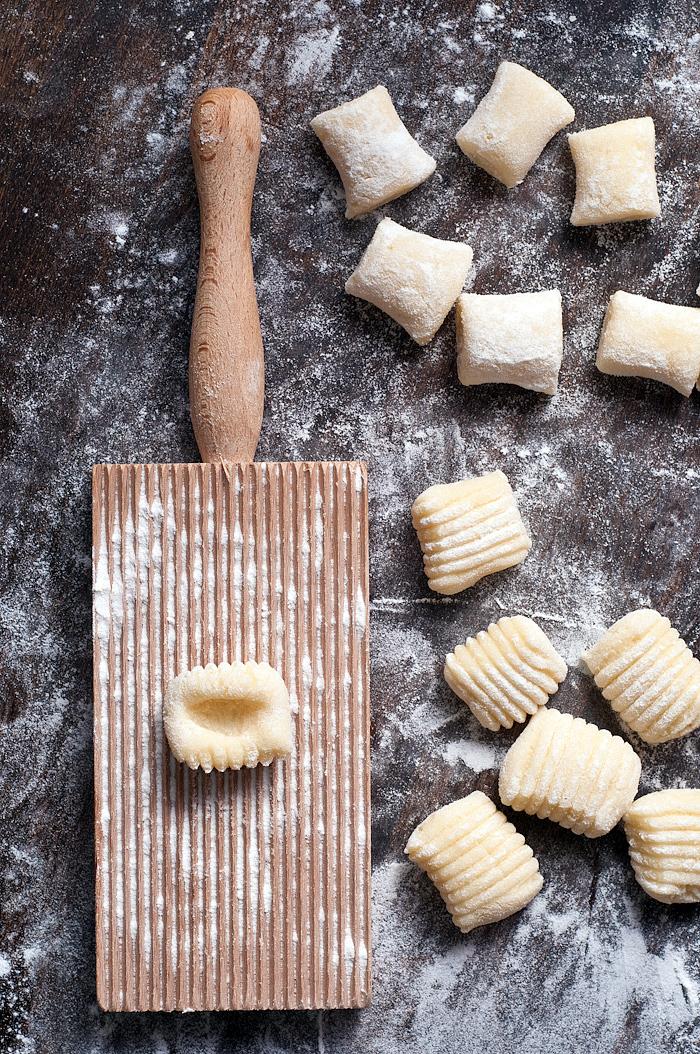 forming gnocchi on a gnocchi board