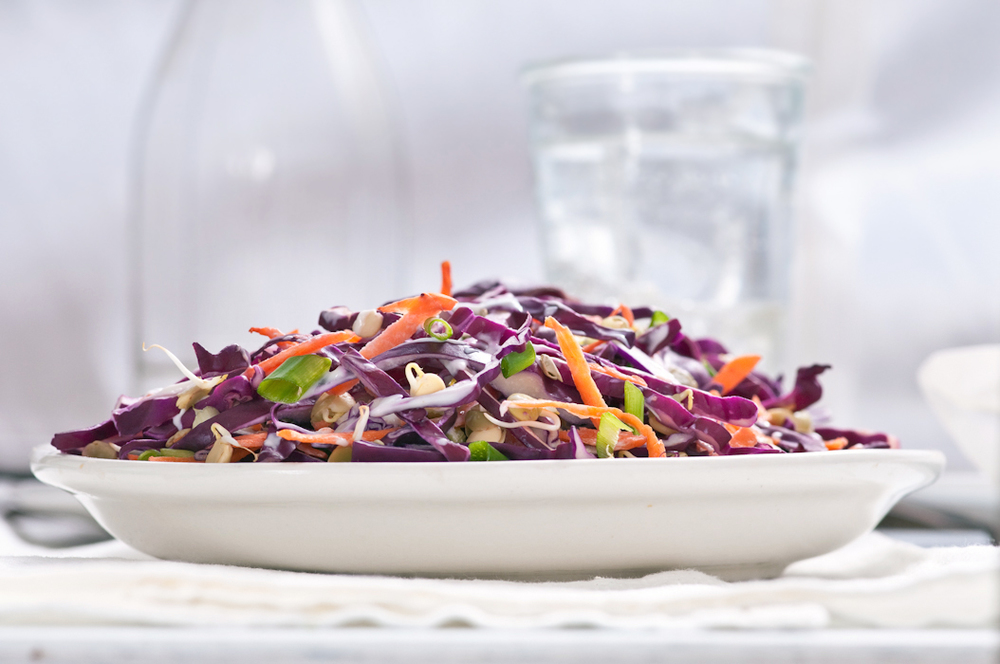 winter purple cabbage slaw with sprouted lentils