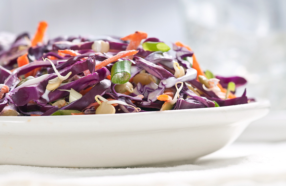 purple cabbage slaw with sprouted lentils