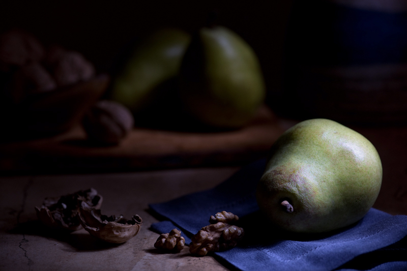 Standing to the right and slightly behind the pear about 2ft away from the set, I moved my light back and forth over the foreground for about 20 seconds and only lit the background for 6-7 seconds.