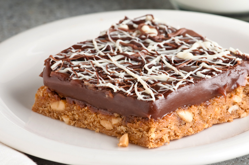 gluten free peanut butter squares with chocolate