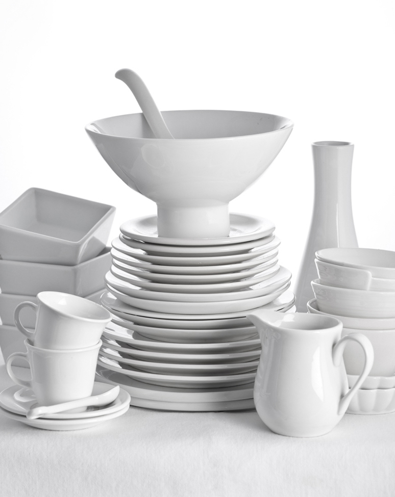 white tableware food stylists props