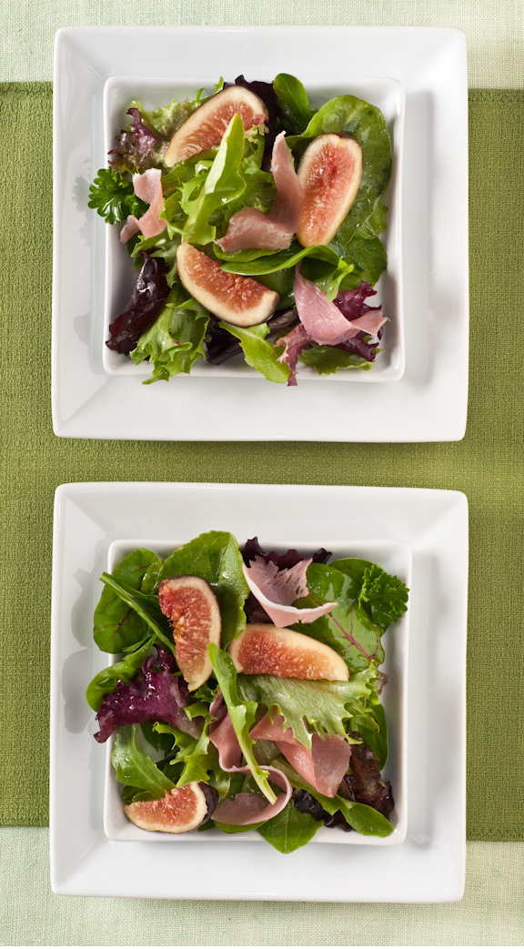 Pulling shades of green from from this Figgy & Piggy Salad for the background makes the pink of the figs and ham really pop. Contrasting white plates frame the salads, preventing them from blending into the green table linens.