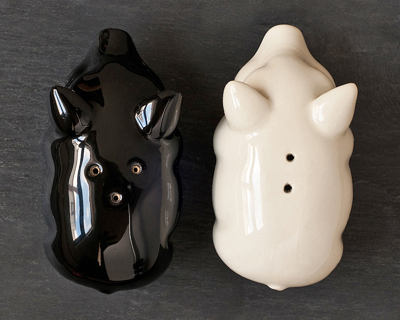 food styling props salt pepper pigs