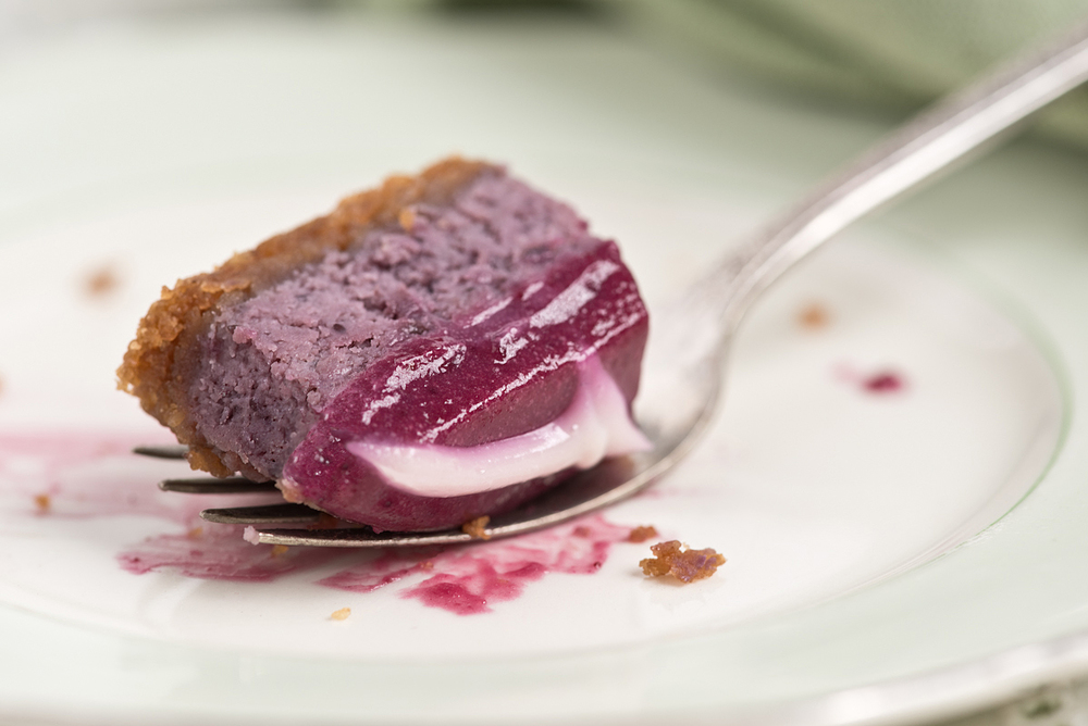 forkful blueberry cheesecake