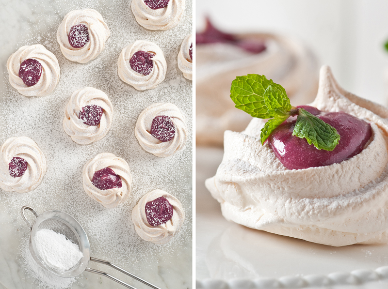 blueberry curd filled meringue kisses