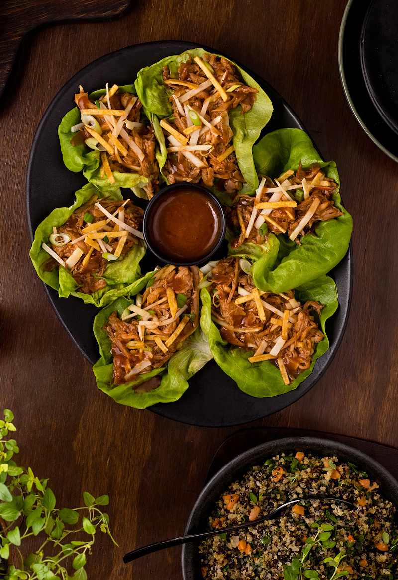bbq pulled chicken lettuce wraps with apple
