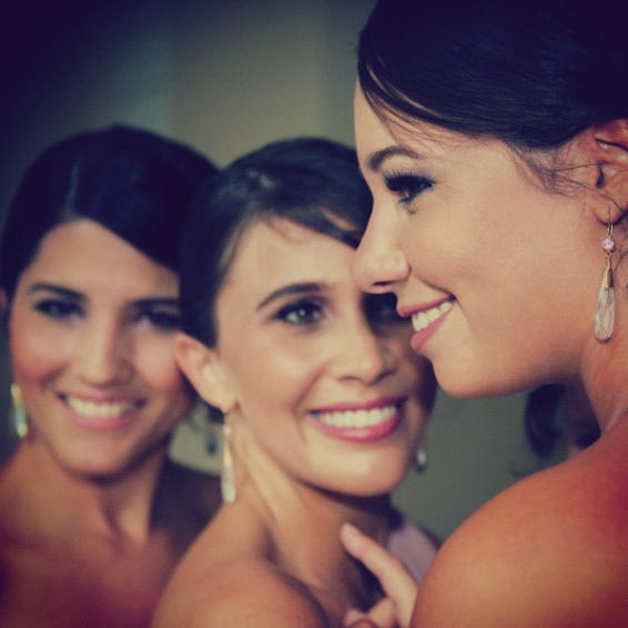 Three of the four bridesmaids wearing BECK!