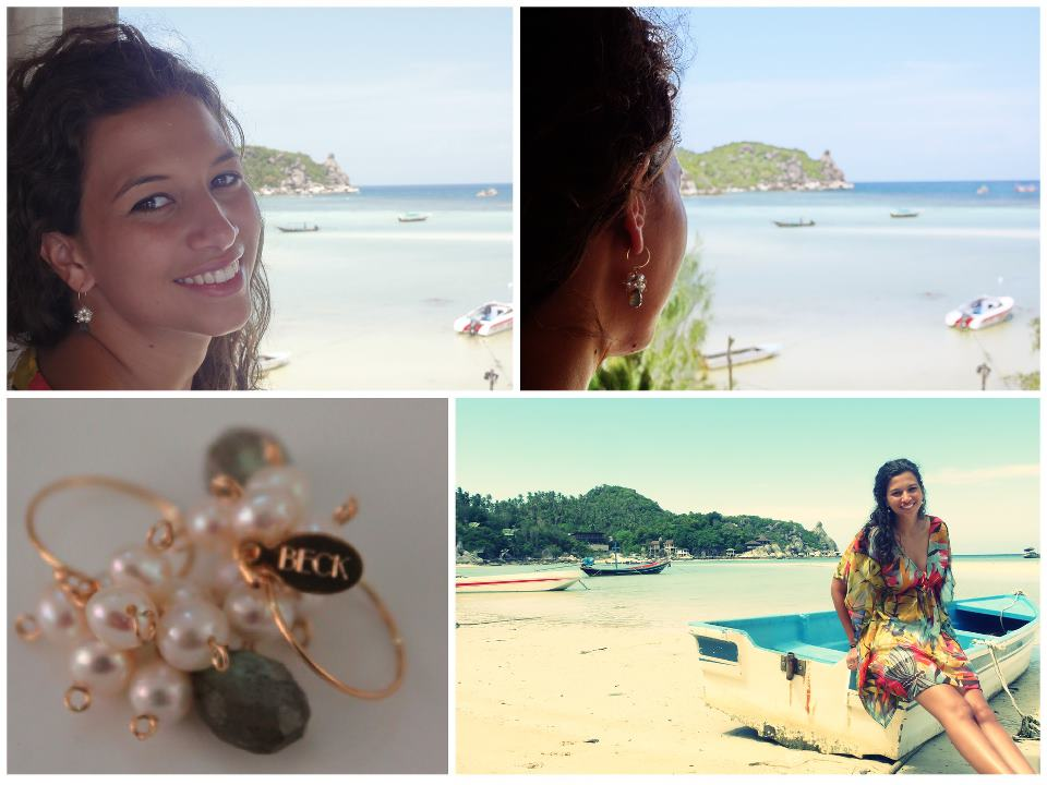 Denise wearing the BECK earrings in Koh Tao