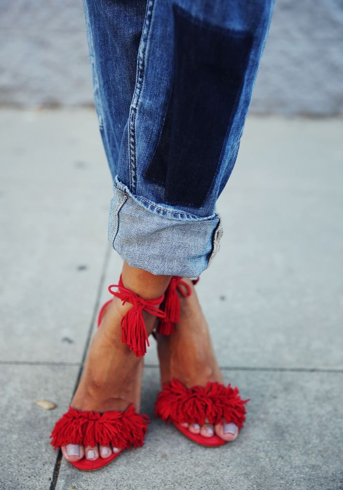 Sincerely Jules - Love these red sandals and jeans!