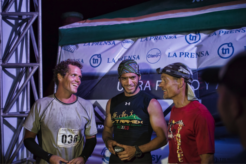 from left: Chris Shanks (2nd Place in 27:24:00), Paco Raptor (1st Place in 27:01:00) and Mark Wheeler (3rd Place in 29:14:00)