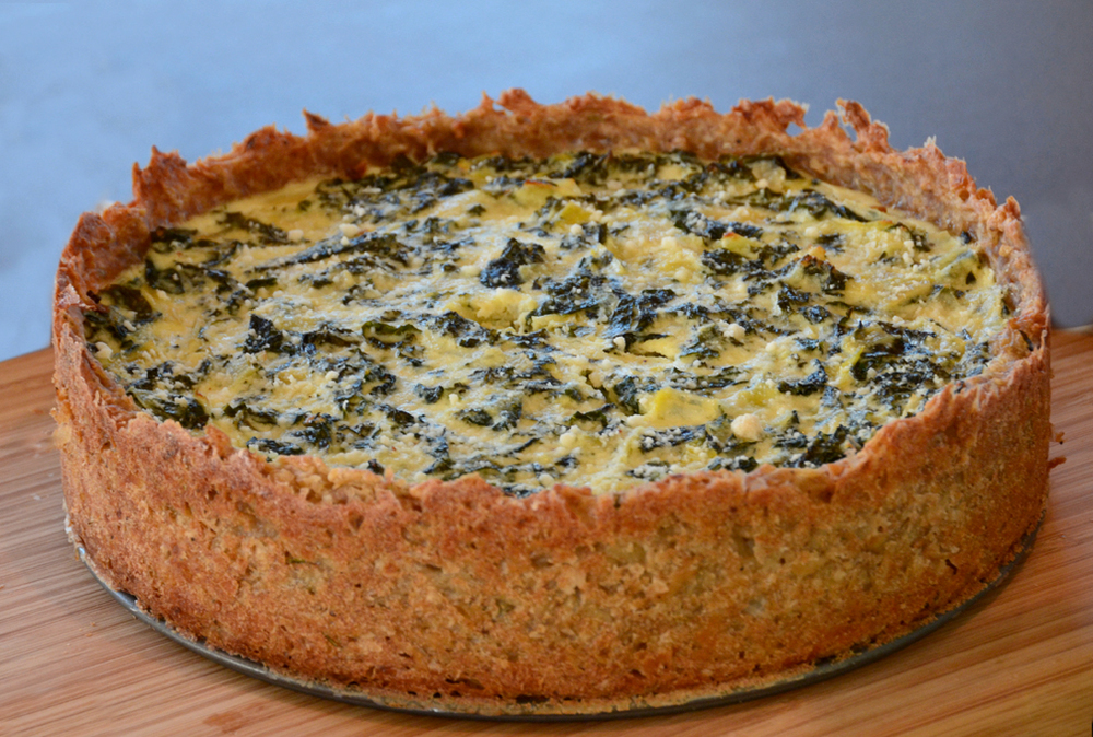Potato Crust Quiche with Ricotta Kale Filling