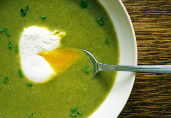Spring Greens Soup with a Poached Farm Egg