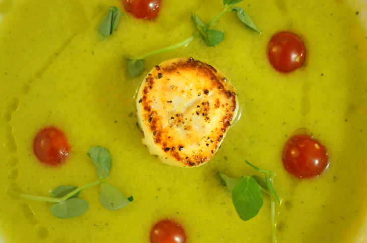 Seared Scallop with Yellow Tomato Gazpacho