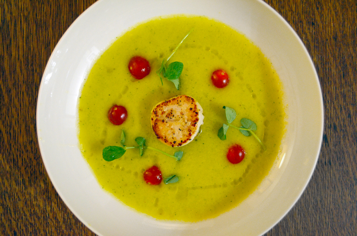 Yellow Tomato Gazpacho with a Seared Scallop