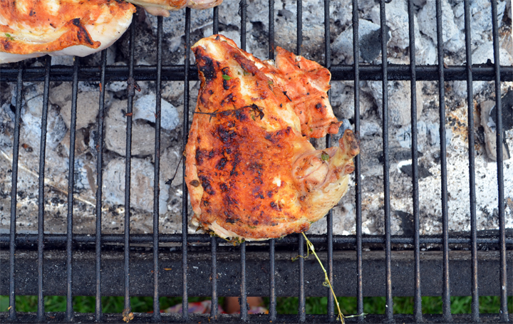 Grilled chicken for the fricassée