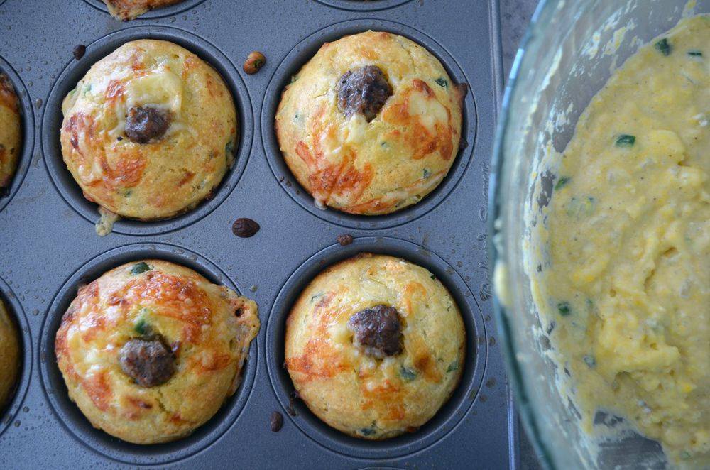 Jalapeño Cheddar Muffins with Sausage