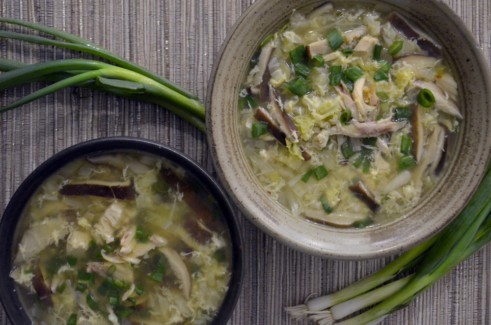 Rice Noodle Egg Drop Soup With Shiitakes Cabbage And Chicken Out