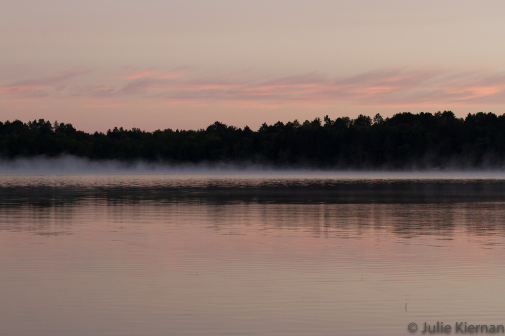 Sunrise fog on the lake at the cabin 8:52