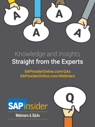 Publication Ad Promoting SAPinsider's  Webinars and Q&As
