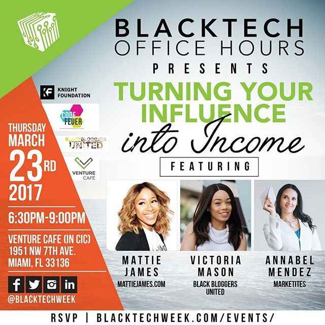 Super excited about Office Hours,  happening during @venturecafemia tomorrow!  Can't wait to meet everyone! There are just a few tickets left, rsvp at BlackTechWeek.com/events ya'll 😬😬😬