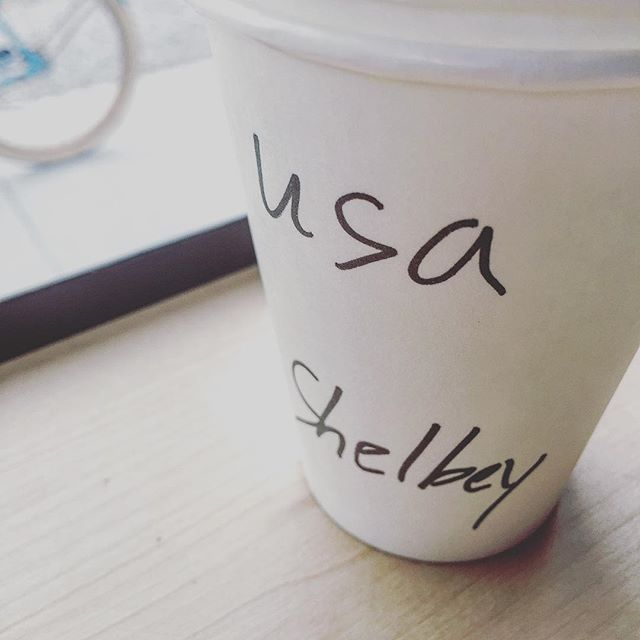 This spelling of my name is a new one (to me) ... but the #americano is on point. #coffee #me #shelby #shelbey #frenchtruckcoffee @frenchtruck