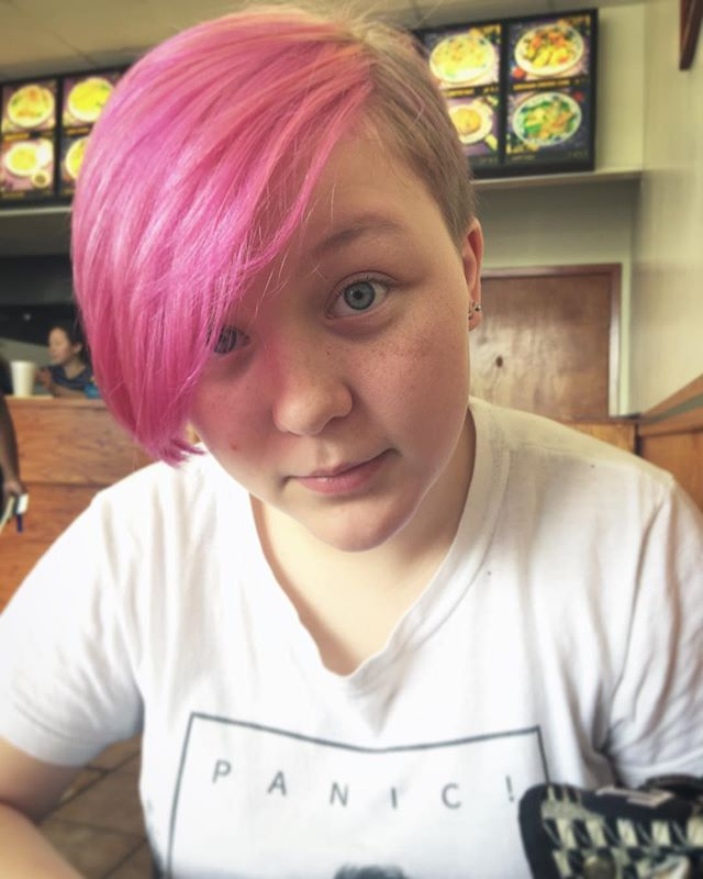 Post-endo Chinese food with the offspring. #daughter #pinkhair #punk #derp @tabithamarie11