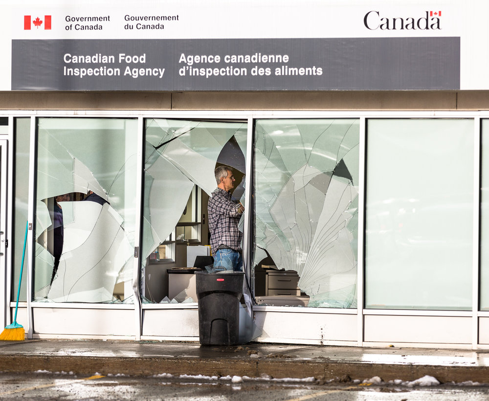 Car crashes into Canadian Food Inspection Agency - A car crashed into the front of the Canadian Food Inspection Agency causing damage to the front of the building and sending glass shards all over.