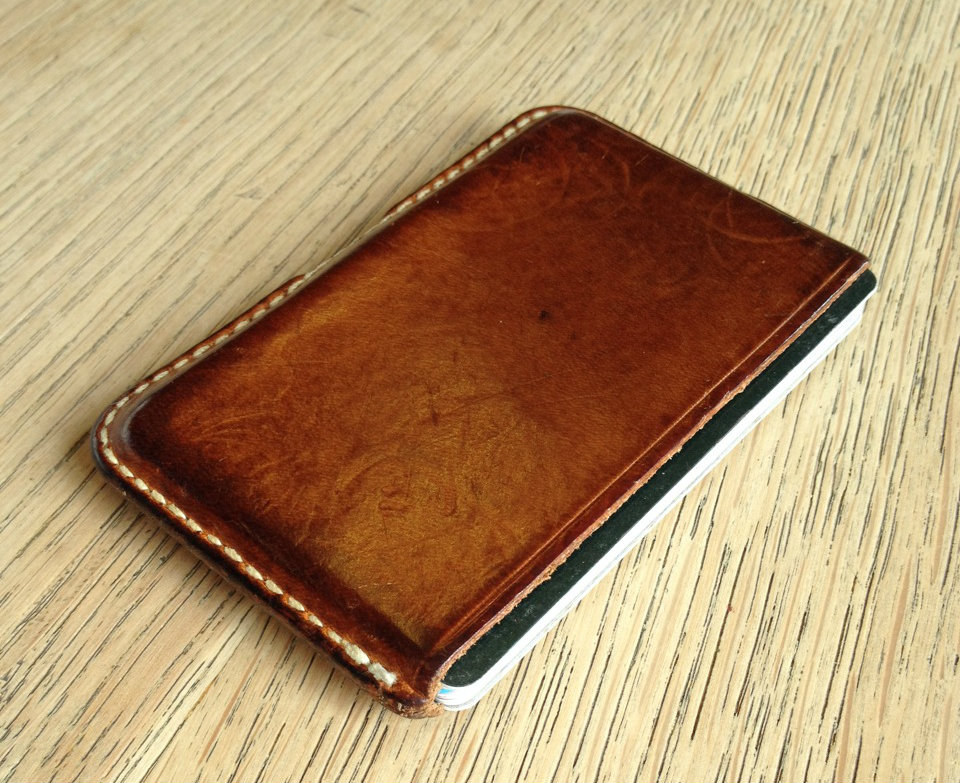 Just got this picture from a client. M.E.S Card Holder in natural undyed veg tan / 16months of constant use / simply beautiful!