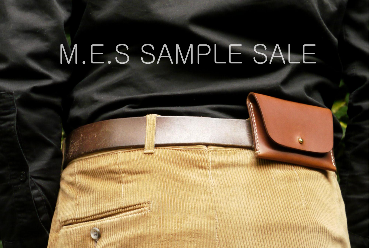 Time for long awaited sample sale!     http://mesleather.com/sale/    The Hip Wallet prototype black -  65£  / 39£    The Hip Wallet prototype brown - SOLD   The Spectacle Case black -  95£  / 59£   The Pencil Case brown -  75£  / 47£   The Gusset Wallet -  135£  / 87£   Key lanyard black -  35£  / 28£ /  2pcs available   Key lanyard brown -  40£  / 30£ /  3pcs available