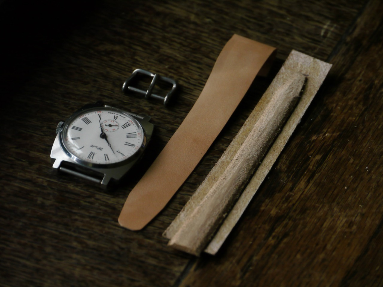 Another watch strap, this time to fit this amazing, vintage ZIM watch ( Made in USSR )   Insert is being shaped and curved with a help of a paring knife by hand.