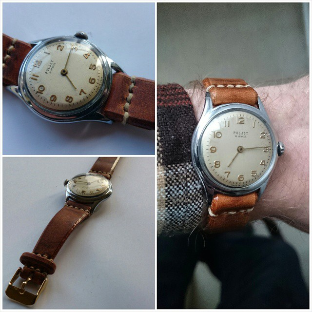 Poljot watch, Moscow made ( USSR) / Swiss mechanism #vintage #vintagewatch #sovietwatches #swisswatch #60swatches #retro #handmadewatchstrap #leatherwatchstrap #reclaimed #handmade #mesleather