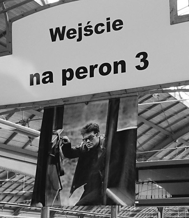 Zbigniew Cybulski photo at the train station in Wroclaw, PL