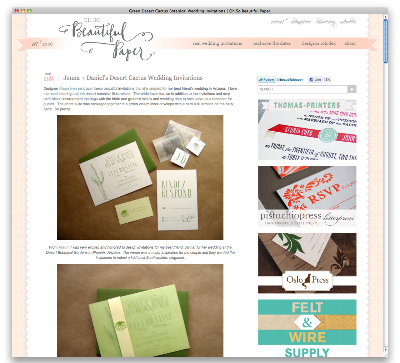 My work for Jenna and Danny's wedding has been featured on  Oh So Beautiful Paper !