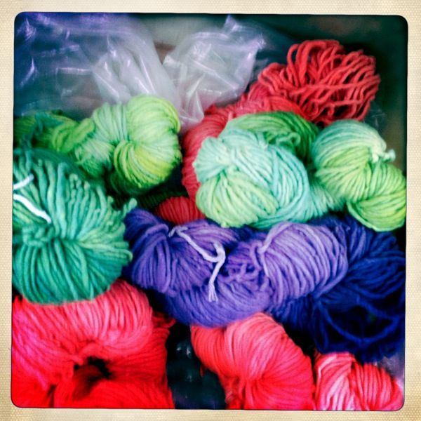 Beautiful wool yarns at the farmers market