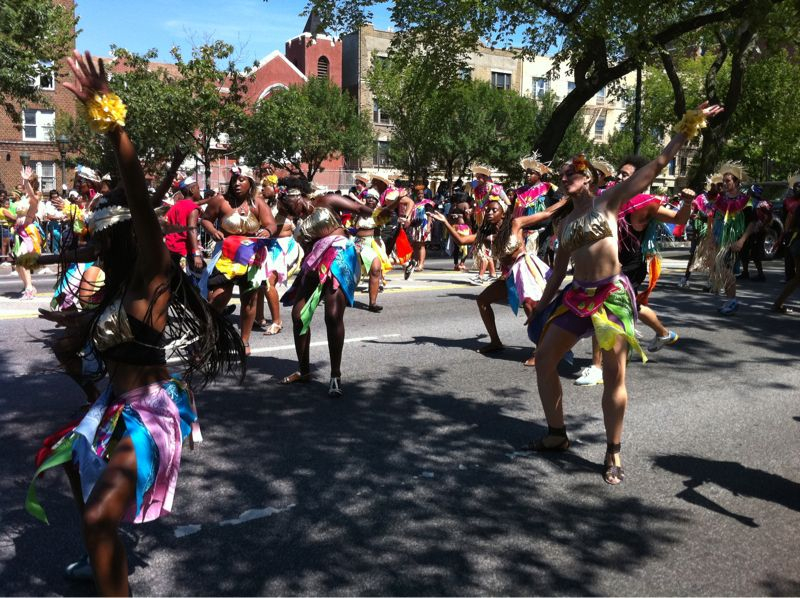 Took my dad to the West Indian American parade in Brooklyn. One of the only legit dance groups.   Biggest parade in the US according to Russell.