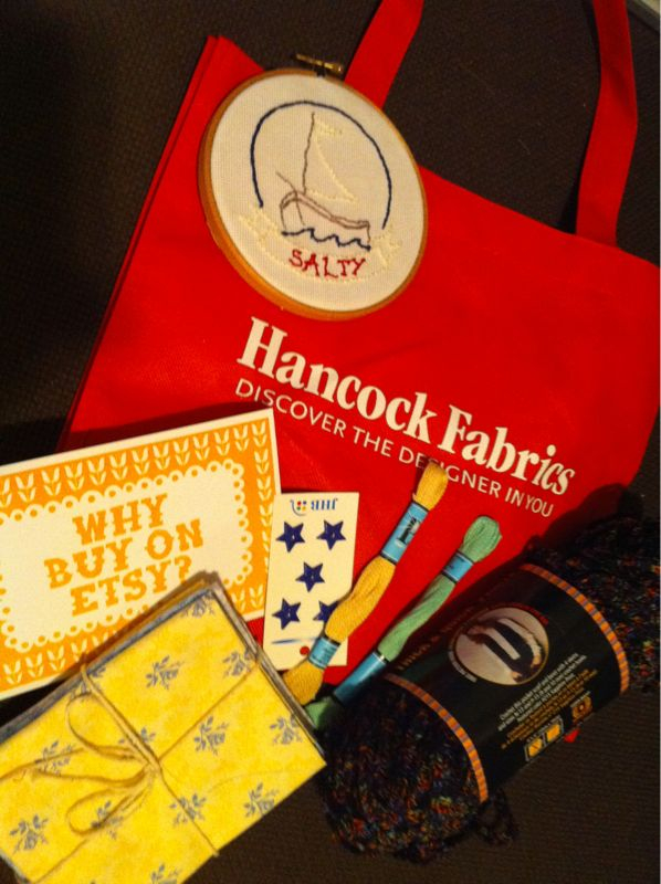 Craft night + swag =  Etsy  +  Hancock Fabrics