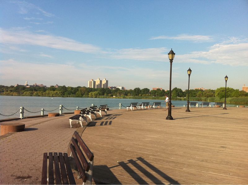 Queens is surprisingly beautiful. At Corona Park this morning waching Rich run a half marathon in the steamy steam.