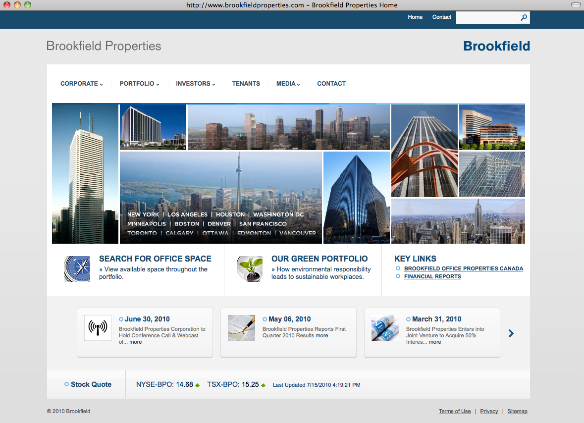 Brookfield's new  website  is up. Yours truly created the intro animation and all the property maps.